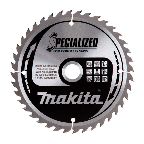 Makita B-09248 Specialized Circular Saw Blade for Cordless Saws 165mm x 20mm x 40T  - 2