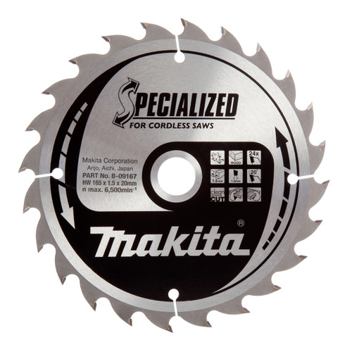 Makita B-09167 Specialized Circular Saw Blade for Cordless Saws 165mm x 20mm x 24T - 2