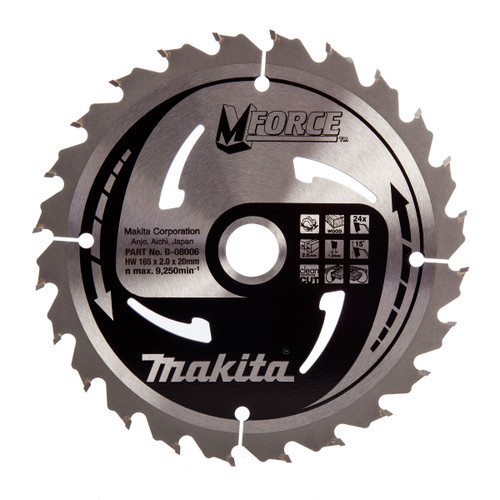 Makita B-08006 M Force Circular Saw Blade Medium Cut for Wood 165mm x 20mm x 24T - 2