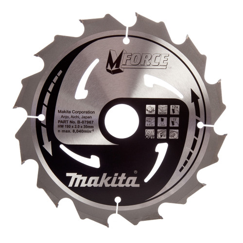 Makita B-07967 M Force Circular Saw Blade Course Cut for Wood 190mm x 30mm x 12T - 3