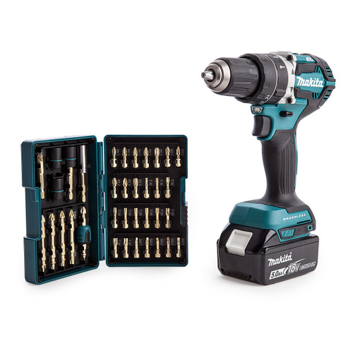 Makita DHP484RTJ 18V Brushless Combi Drill (2 x 5.0Ah Batteries) with B-54536 Impact Gold Bit Set - 4