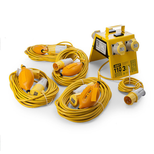 Just 110 Site Kit 4 Extension Leads x 4 - 1.5mmï¾_ x 14m + 4 Way Junction Box With USB Ports 110V - 5
