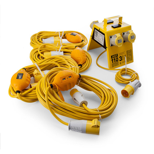 Just 110 Site Kit 3 Extension Leads x 4 - 2.5mmï¾_ x 14m + 4 Way Junction Box With USB Ports 110V - 5