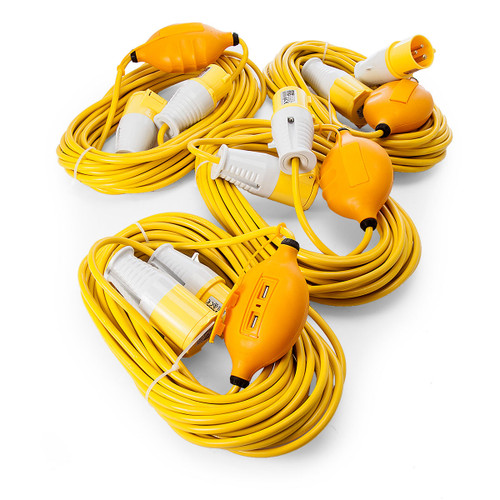 Just 110 Site Kit 2 Extension Leads x 4 - 1.5mmï¾_ x 14m with USB Ports 16Amp 110V - 3