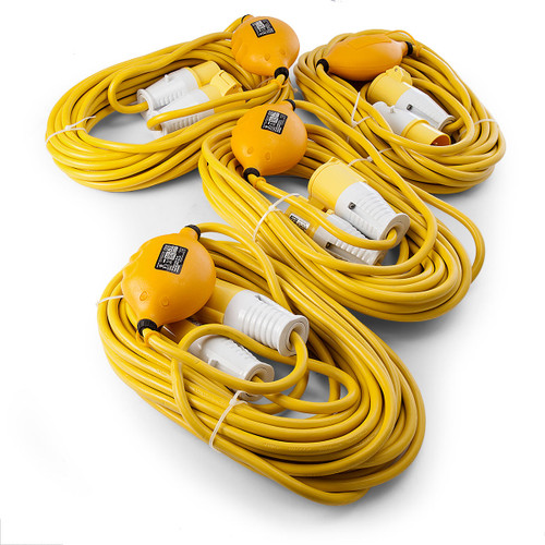 Just 110 Site Kit 1 Extension Leads x 4 - 2.5mmï¾_ x 14m with USB Ports 16Amp 110V - 3