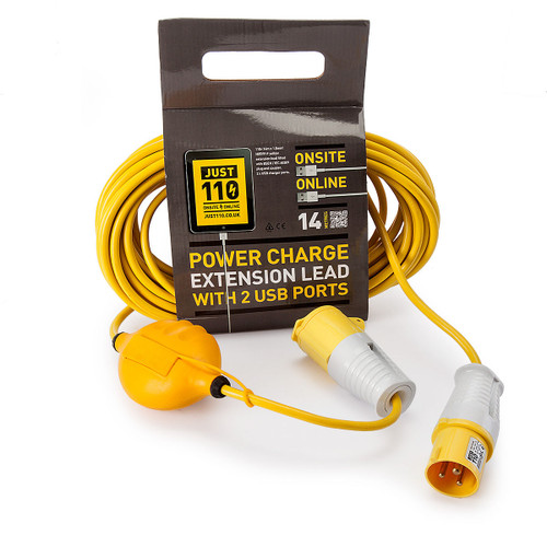 Just 110 JOT1001 Extension Lead 1.5mm x 14m with USB Ports 16Amp 110V - 2
