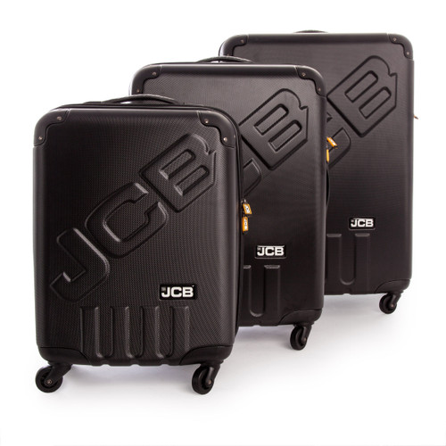 JCB 006 - 3 Piece ABS Luggage Set in Black 35.5 - 58.8 - 88.5 Litre - 6