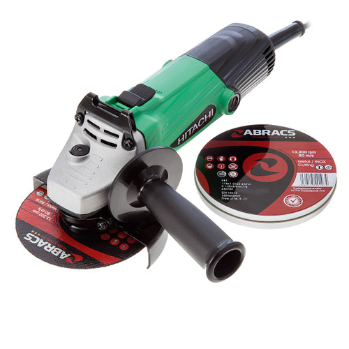"Hitachi G12SS 115mm 4-1/2"" Angle Grinder 110V with 10 Abracs Cutting Discs - 2"