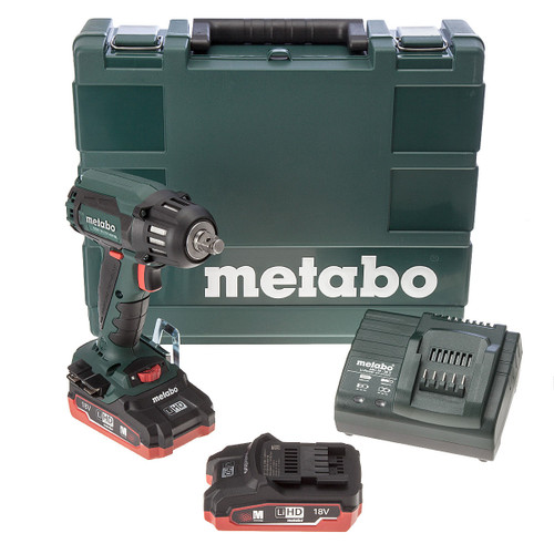 Buy Metabo SSW 18 LTX 400 BL High Torque Impact Wrench (2 x LiHD 3.1Ah Batteries) at Toolstop