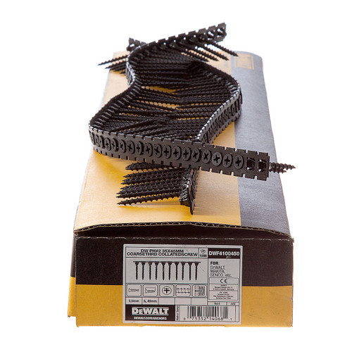 Buy Dewalt DWF4100450 Plastic Collated Drywall Screws Coarse Thread 45mm x 3.5mm (1000 in Box) at Toolstop