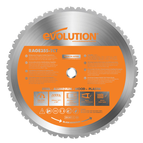 Buy Evolution B355 Rage 2 Cutting TCT Blade 355mm at Toolstop