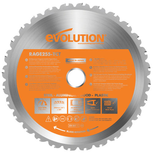 Buy Evolution B255 TCT Sawblade 255mm x 28T at Toolstop