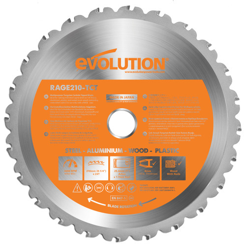 Buy Evolution B210 Cutting TCT Blade 210mm x 24T at Toolstop