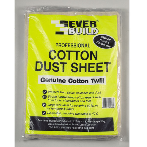 Buy Everbuild Professional Cotton Dust Sheet Genuine Cotton Twill 12ft x 9ft at Toolstop