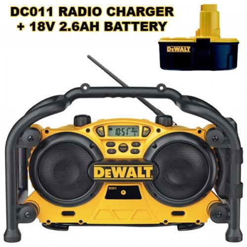 Buy Dewalt DC011 + DE9503 - AC/DC Radio Charger 240V + 18 Volt 2.6A Battery at Toolstop