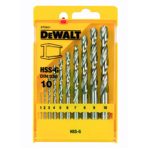 Buy Dewalt DT5921 HSS-G DIN 338 Jobber Metal Drill Bit Set (10 Piece) at Toolstop