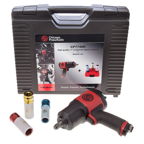 Chicago Pneumatic CP7748-SET 1/2 Inch Impact Wrench with 3 x Impact Sockets - 3