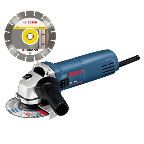Bosch GWS850C 115mm/4.5inch Angle Grinder 110V with Diamond Blade - 1