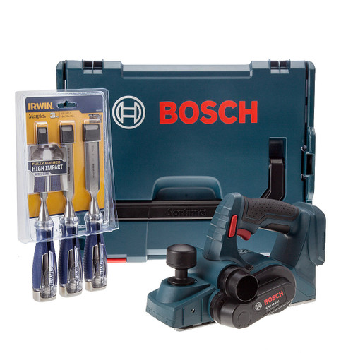 Bosch GHO18V-LIN 18V Cordless Planer (Body Only) in L-Boxx + 3 Irwin Splitproof Chisels - 3
