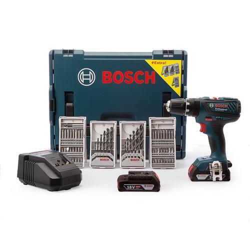Bosch GSB18-2LI Plus 18V Professional Lightseries Combi Drill (2 x 2.0Ah Batteries) with 63 Piece Accessory Set  - 7