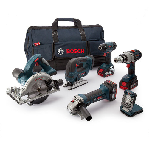 Buy Bosch BAG+6RS5 6 Piece Robustseries Cordless li-ion Power Tool Kit With 3 x 5Ah Batteries at Toolstop