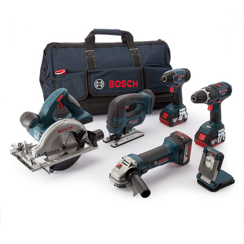 Buy Bosch BAG+6DS5 6 Piece 18V Cordless li-ion Power Tool Kit With 3 x 5.0Ah Batteries at Toolstop