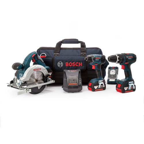 Buy Bosch BAG+4DS 18V 4 Piece Cordless Tool Kit in Bag (3 x 4.0Ah Batteries) at Toolstop