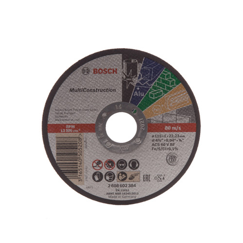 Buy Bosch 2608602384 Multi Construction Rapido Straight Cutting Disc 115mm at Toolstop
