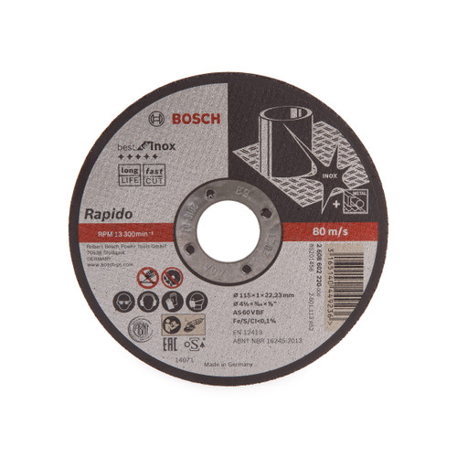 Buy Bosch 2608602220 Rapido Long Life Inox Straight Cutting Disc 115mm at Toolstop