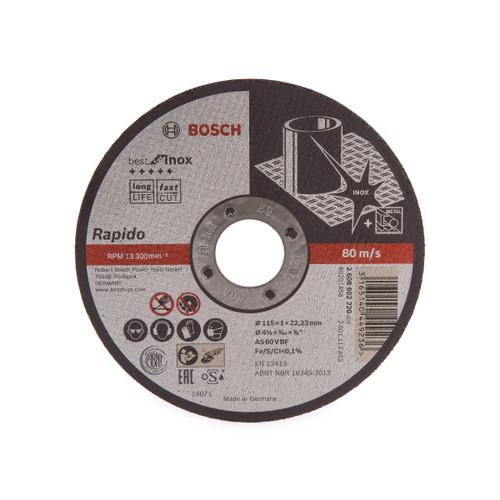 Buy Bosch 2608602220 Rapido Long Life Inox Straight Cutting Disc 115mm at Toolstop