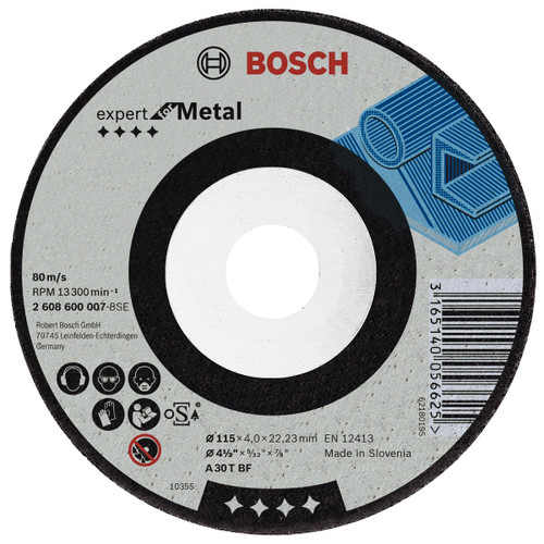 Buy Bosch 2608600218 Metal Grinding Disc with Depressed Centre 115mm at Toolstop