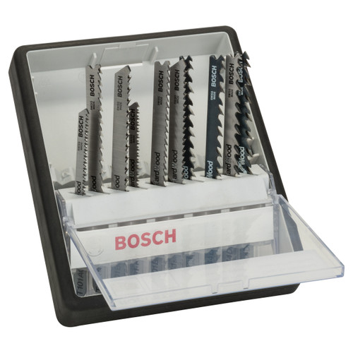 Bosch 2607010540 Robust Line Wood Jigsaw Blade Set - Single Lug Shank (10 Piece) - 2