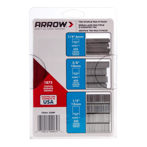 Buy Arrow T50MP Staple Multi Pack (1875 Assorted Staples) at Toolstop