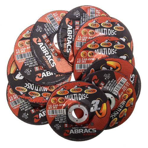 Abracs HY12525DM Multi Disc 3-in-1 Cut/Grind/Finish with DPC Centre 125 x 2.5 x 22mm (Pack Of 10) - 3