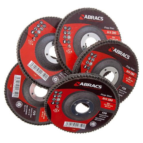 Abracs ABFZ125B-80GR Zirconium Flap Disc  with DPC Centre 125 x 22mm 80 Grit (Pack Of 5) - 4