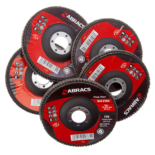 Abracs ABFZ125B-120GR Zirconium Flap Disc  with DPC Centre 125 x 22mm 120 Grit (Pack Of 5) - 4
