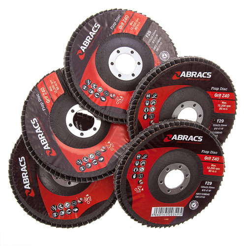 Abracs ABFZ125B-40GR Zirconium Flap Disc with DPC Centre 125 x 22mm 40 Grit (Pack Of 5) - 4