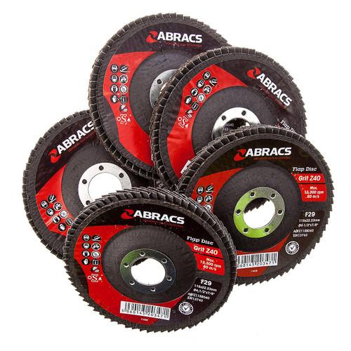 Abracs ABFZ115B-40GR Zirconium Flap Disc  with DPC Centre 115 x 22mm 40 Grit (Pack Of 5) - 4