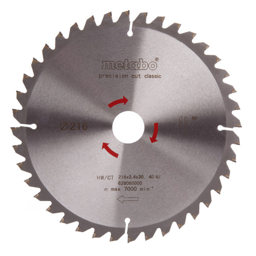 Metabo 6.28060 Circular Saw Blade 216mm x 30mm x 40T - 2