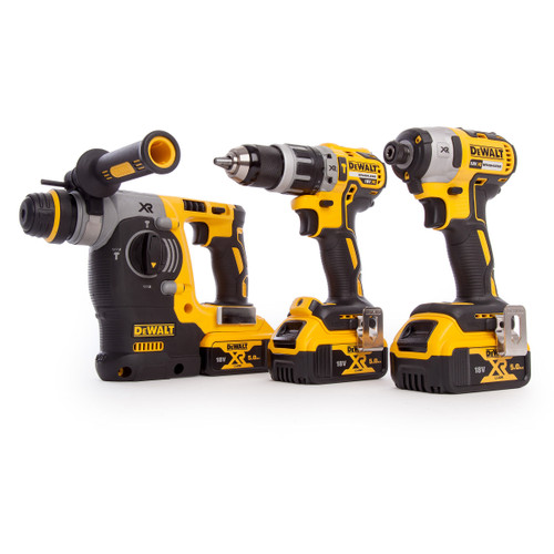 Dewalt DCK368P3T Triple Kit: DCD796 + DCH273 + DCF887 (3 x 5.0Ah Batteries) in 2 x TSTAK II Boxes - 9