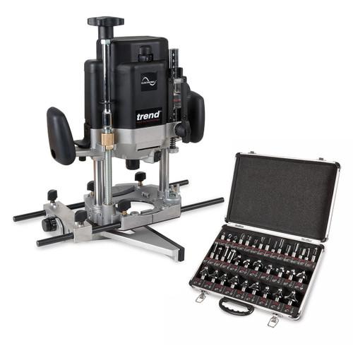 """Trend T11EK 2000W 1/2"""" Variable Speed Workshop Router 240V + 35 Piece Cutter Set - 4"""