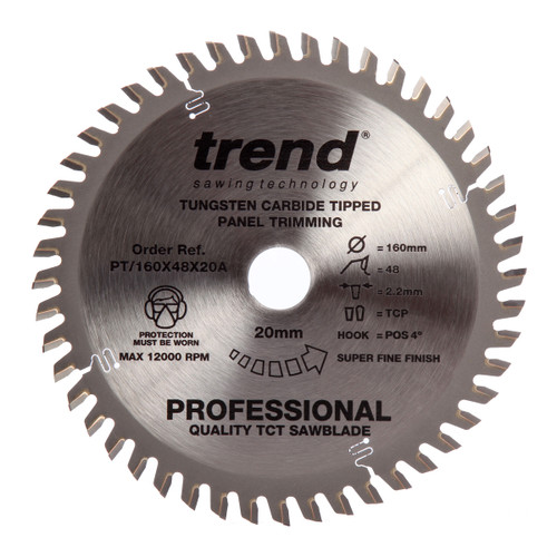 Trend PT/160X48X20A Wave Form Saw Blade for Panel / Trimming 160mm x 48T (Festool TS55) - 3