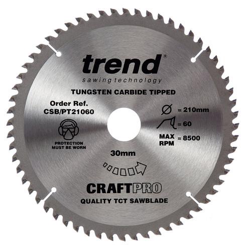 Trend CSB/PT21060 CraftPro Saw Blade 210mm x 30mm x 60T (Festool TS75) - 2