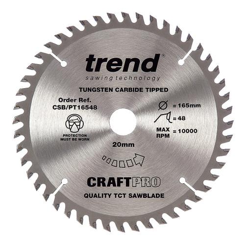 Trend CSB/PT16548 CraftPro Saw Blade 165mm x 20mm x 48T (2.0mm Kerf) - 4