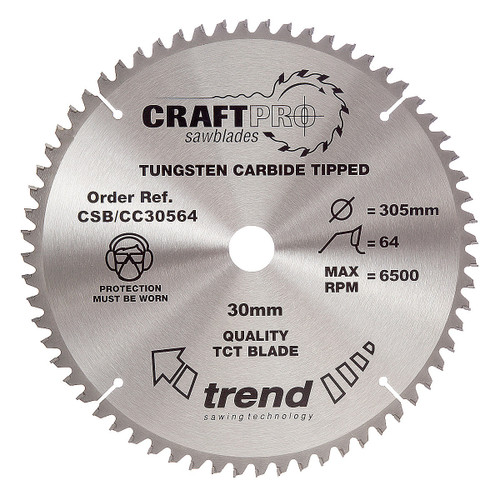 Trend CSB/CC30564 CraftPro Saw Blade Crosscut 305mm x 30mm x 64T - 5