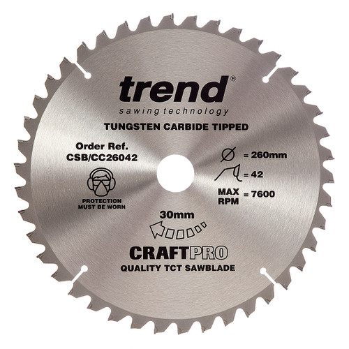 Trend CSB/CC26042 CraftPro Saw Blade Crosscut 260mm x 30mm x 42T - 5