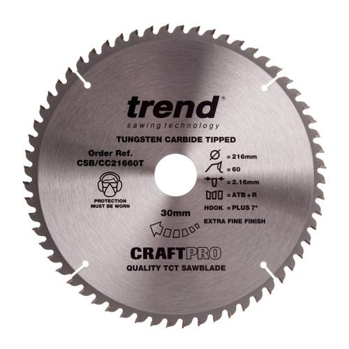 Trend CSB/CC21660T CraftPro Saw Blade Crosscut 216mm x 30mm x 60T - 2