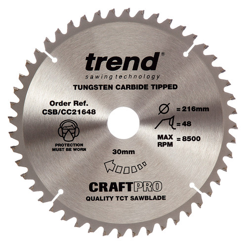 Trend CSB/CC21648 CraftPro Saw Blade Crosscut 216mm x 30mm x 48T - 5