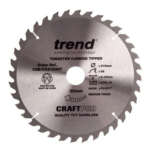 Trend CSB/CC21636T CraftPro Saw Blade Crosscut 216mm x 30mm x 36T - 2
