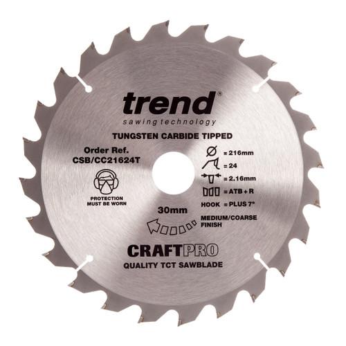 Trend CSB/CC21624T CraftPro Saw Blade Crosscut 216mm x 30mm x 24T - 2